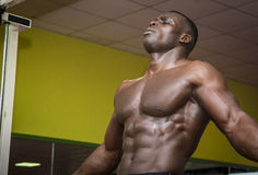 Hunky muscular black bodybuilder working out in gym Stock Photo