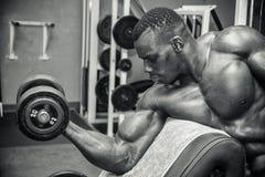 Hunky spier zwarte bodybuilder die binnen uitwerken stock foto