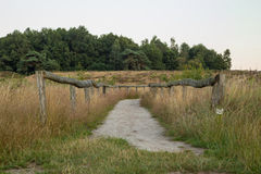 Hunnebed number D53 in Drenthe, The Netherlands. This path leads to the historical site wich holds the hunebed number D53. This Hunebed number D53 lays to the Royalty Free Stock Photography