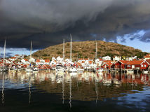 Hunnebostrand. Dramatic weather at Hunnebostrand in Sweden stock image