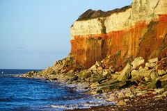 Hunstanton cliffs. Limestone and sandstone cliffs at Hunstanton Norfolk on a bright sunny day Royalty Free Stock Images