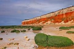 Hunstanton en la opinión del acantilado de Norfolk de la playa Fotografía de archivo