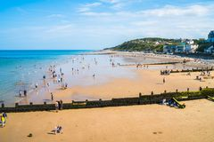 View of the sea and beach in Cromer, Norfolk, UK Stock Photography