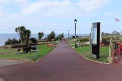 Esplanade gardens, Hunstanton, Norfolk. Hunstanton, Norfolk, UK. September 17, 2018. Holidaymakers strolling through the beautiful Esplanade gardens at stock images