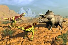 Hunt dinosaur. Scene of the hunt dinosaur on background of the sundown Stock Image