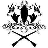 Hunt emblem. Hunting emblem with guns and fallow deer heads - black and white design element Royalty Free Stock Image