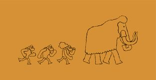 Hunt for mammoth Rock painting. caveman Prehistoric man Hunter. Homosapiens people. Paleolithic life. Vector illustration royalty free illustration