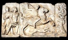 Hunt scene. Boar hunt scene, Ancient Roman sculpture Stock Photography