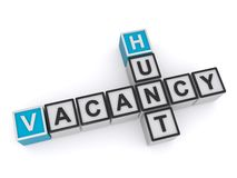 Hunt vacancy. Text 'hunt vacancy' in uppercase letters inscribed on small cubes and arranged crossword style with common letter 'n', white background royalty free illustration