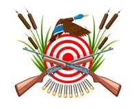 Hunt on wild duck emblem with target Royalty Free Stock Photography