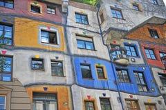 Huntdertwarsser hus i i stadens centrum Wien, Österrike Fotografering för Bildbyråer