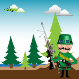 The hunter. Colorful background with hunter preparing his guns in order to go hunting Royalty Free Stock Photography