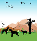 The hunter. Colorful background with hunter and his dogs hunting wild birds Stock Image