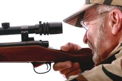 Hunter. Looking into the scope of his rifle Royalty Free Stock Photos