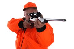 Hunter. In Blaze gear with riffle Stock Photography