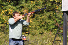 Hunter. Union of a local hunting club in Bulgarian countryside, trap shooting, 22. 09. 2012 Stock Photo