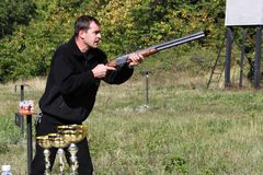 Hunter. Union of a local hunting club in Bulgarian countryside, trap shooting, 22. 09. 2012 Royalty Free Stock Image