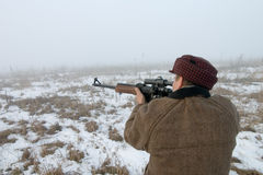 The hunter. Aims from the hunting carbine Stock Images