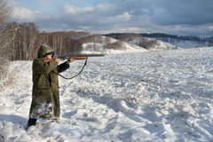 The hunter. In the winter on a marge of a wood Stock Photo