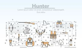 Vector thin line art hunter poster banner template. Hunter advertising vector poster banner template. Hunting duck, deer, hare equipment and accessories. Thin vector illustration