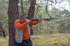 Hunter aim rifle in pine forest. Senior hunter aim rifle in pine forest stock photos