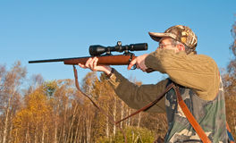 Hunter aiming animals Royalty Free Stock Photo