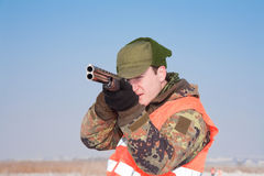 Hunter aiming at the hunt in silence Royalty Free Stock Photography