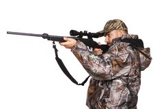 Hunter aiming a rifle Royalty Free Stock Photo