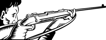 Hunter aiming a rifle. Vector illustration of a hunter or an assassin aiming his rifle viewed from the side Royalty Free Stock Photo