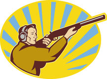 Hunter aiming rifle shotgun. Illustration of a Hunter aiming rifle shotgun side view Royalty Free Stock Photography