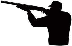Hunter aiming  shotgun Royalty Free Stock Photos