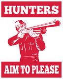 Hunter aiming shotgun rifle. Illustration of a Hunter aiming a shotgun rifle front view with wording hunters aim to please Stock Images
