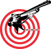 Hunter aiming a shotgun rifle. Illustration of a Hunter aiming rifle shotgun with bulls eye in background viewed from a high angle Royalty Free Stock Images