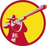 Hunter Aiming Shotgun Rifle Circle Retro Stock Photos