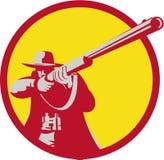 Hunter Aiming Shotgun Rifle Circle Retro Stock Photos