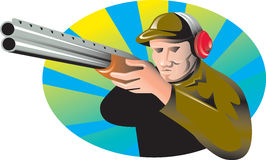 Hunter aiming shotgun rifle gun Royalty Free Stock Photo
