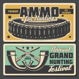 Hunter ammo bullet and horns vector posters. Hunting festival or hunt open season vintage poster for hunter society or adventure club. Vector retro grunge design royalty free illustration