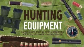 Hunting sport equipment and ammunition. Hunter ammunition and hunting sport equipment. Rifle, huntsman knife and binocular, shotgun cartridge, compass and vector illustration