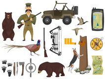 Hunter ammunition set. Set of hunting illustrations in cartoon style. Hunter and firearms, hunting bows and car for hunter. Ammunition of professional hunter Royalty Free Stock Photo