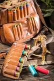 Hunter bag full of bullets Stock Images