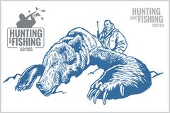 Hunter and bear - vintage illustration Stock Images