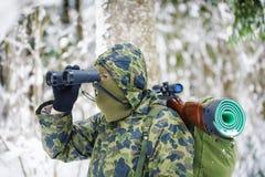 Hunter with binoculars Royalty Free Stock Photography
