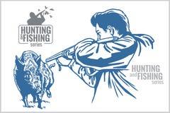 Hunter and boar - vintage illustration Royalty Free Stock Images