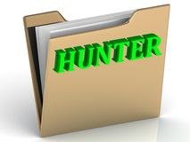 HUNTER- bright green letters on paperwork Stock Photo