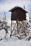 Hunter cabin. Shooting Tower. Winter forest.Frosty look,still life Royalty Free Stock Images
