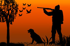Hunter and canine silhouette. Silhouette of a hunter and his canine companion at sunrise vector illustration