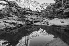 Hunter Canyon Hiking Trail Moab Utah Black and White Stock Image