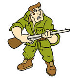 Hunter cartoon illustration Royalty Free Stock Photography