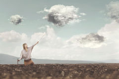 Hunter clouds dominates with courage its clouds. In the sky Royalty Free Stock Images