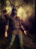 Hunter with a deer helmet Stock Photo